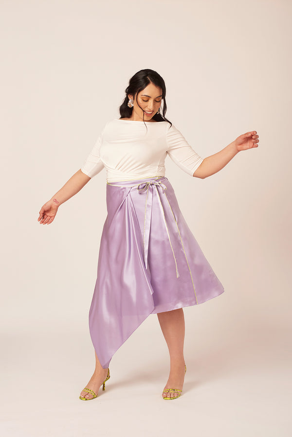 Be the best dressed guest in this purple silk skirt wedding look