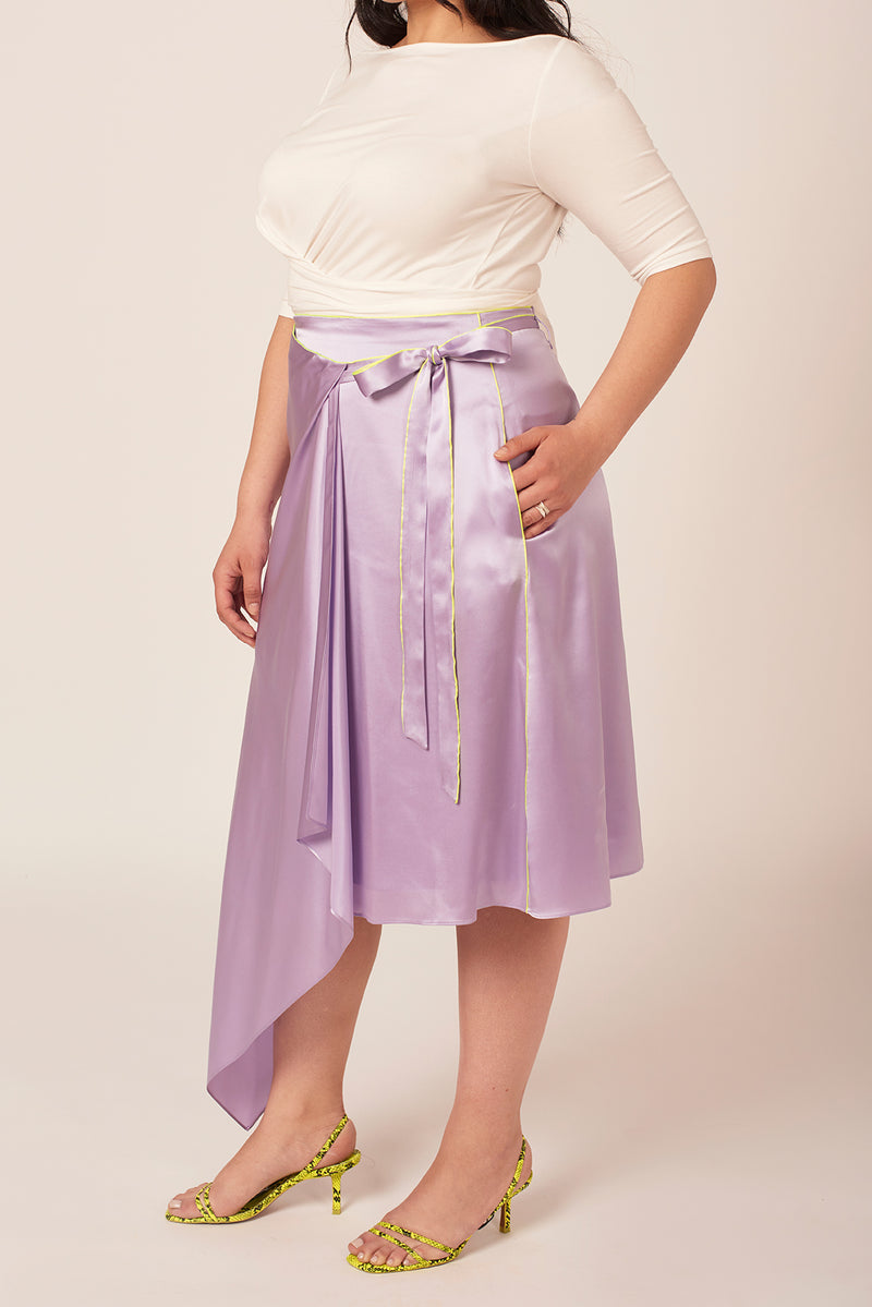 Wrap purple silk skirt for women size 8 to 18