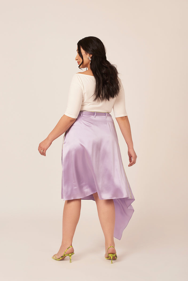 Wrap asymmetrical lilac silk skirt with neon yellow trim