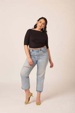 Cropped wrap top in black for plus size women by Shayne