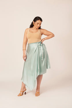 Plus size blue wrap silk skirt. Ideal for a wedding guest look.