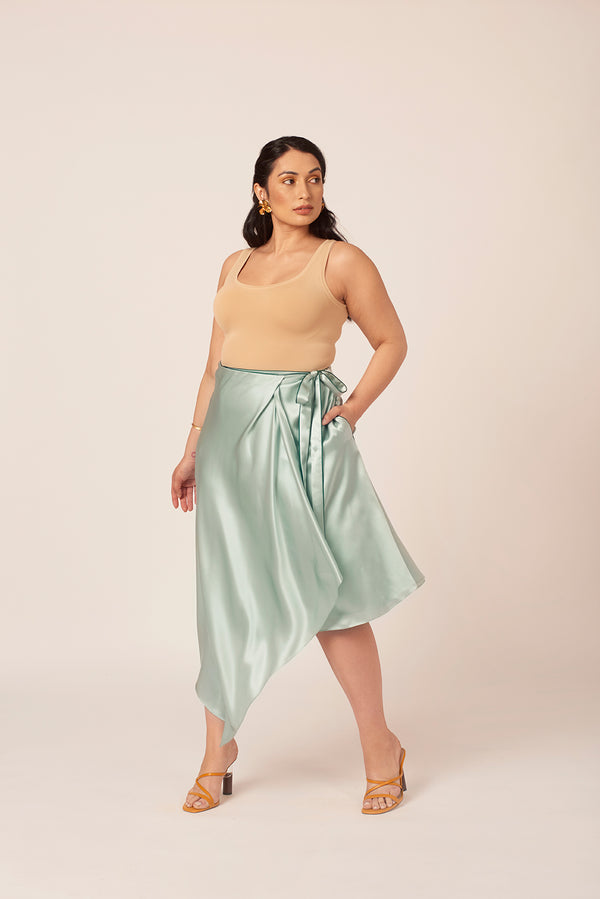 Mint silk skirt with pockets for women size 8 to size 18
