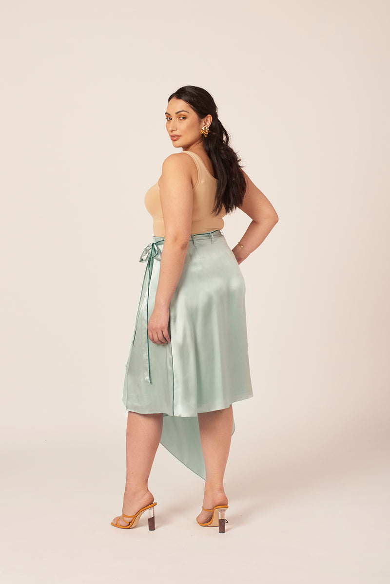 Mint silk asymmetrical skirt for women size 10, size 12 and size 14. Wedding guest best dressed.