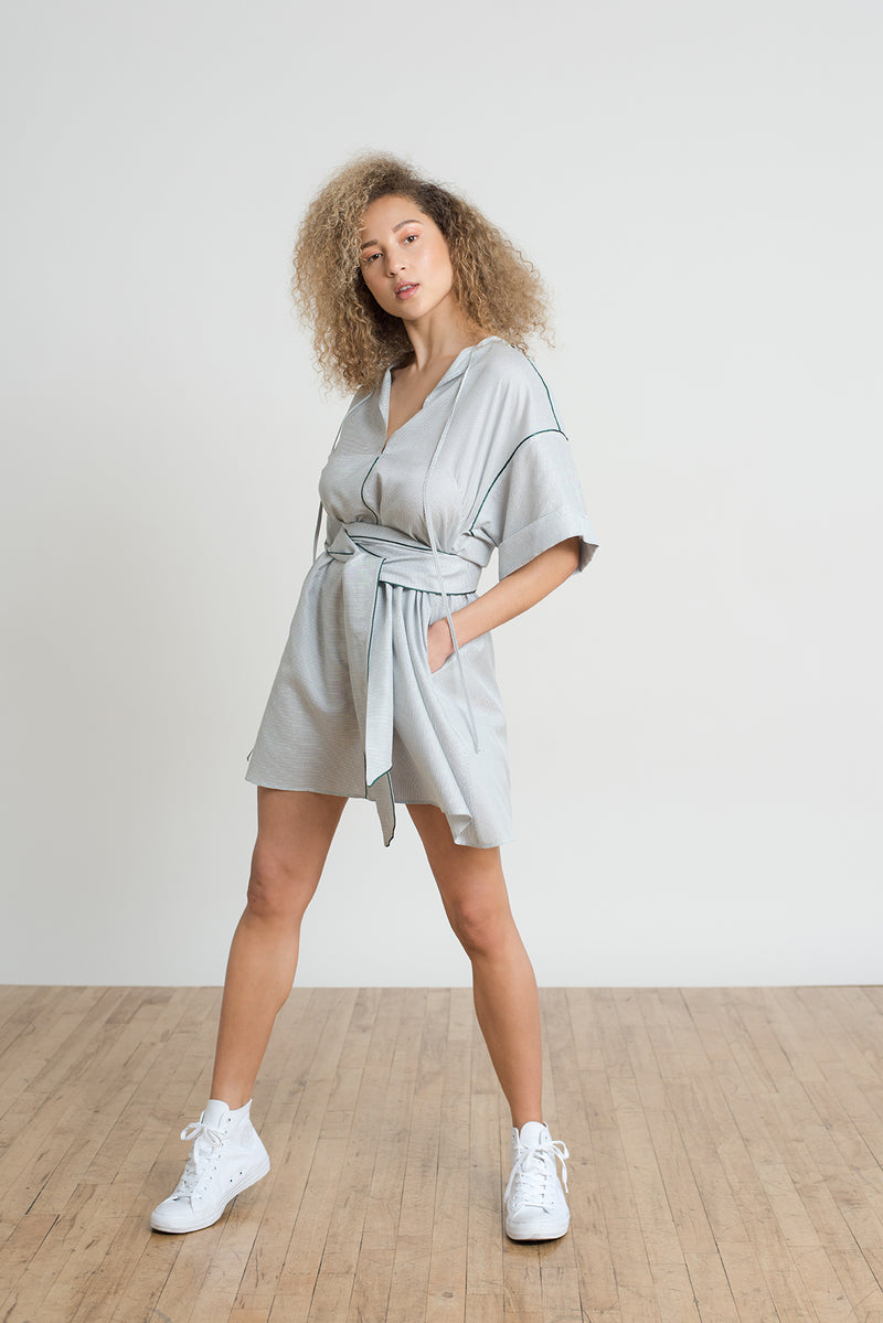 Shayne size inclusive luxury clothing - Mason dress is a casual over sized light weight stripe t-shirt dress with pockets. Great for the beach, summer weekend getaways, or girls night out.