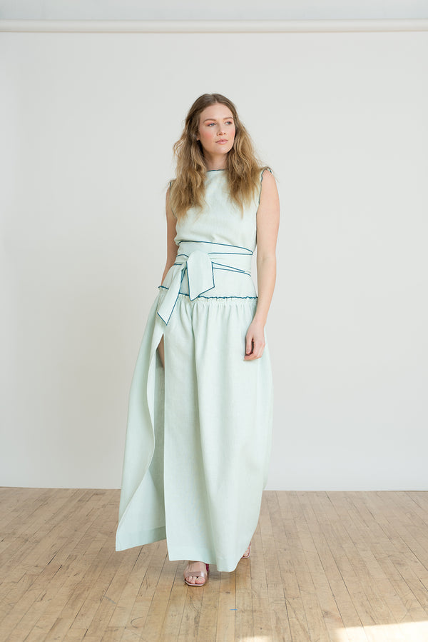Shayne Size Inclusive Luxury Clothing - Adeline dress in light green or soft mint with high slit is perfect for formal summer weddings