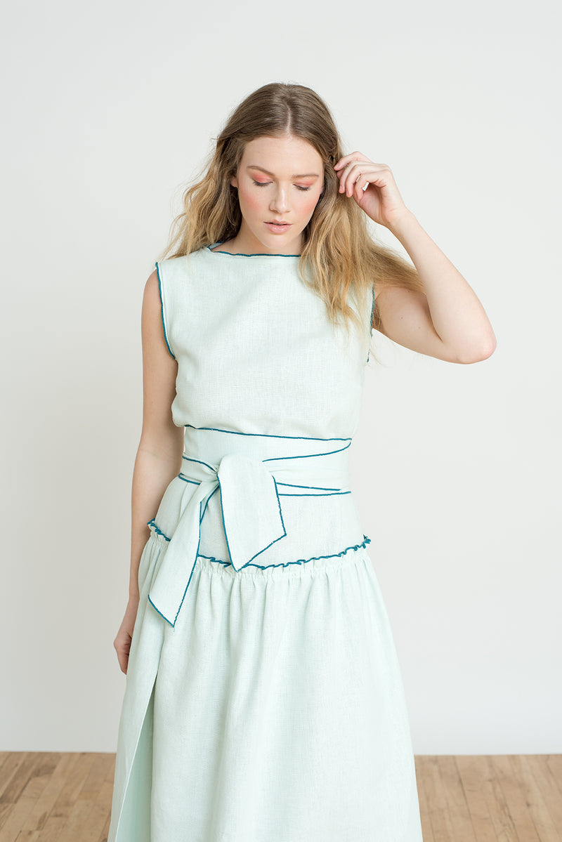 Shayne Luxury Clothing - Adeline dress in light green or soft mint with high slit is perfect for formal summer weddings