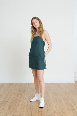 Shayne size inclusive luxury clothing - Watts dress is a short shift dress in jade linen with pockets