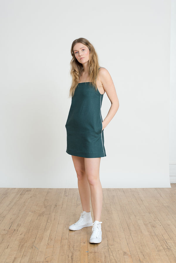 Shayne size inclusive luxury clothing - Watts dress is a short two piece dress including a lightweight stripe wrap top and jade linen shift dress with pockets. Everyday go-to dress made for work or cocktails.