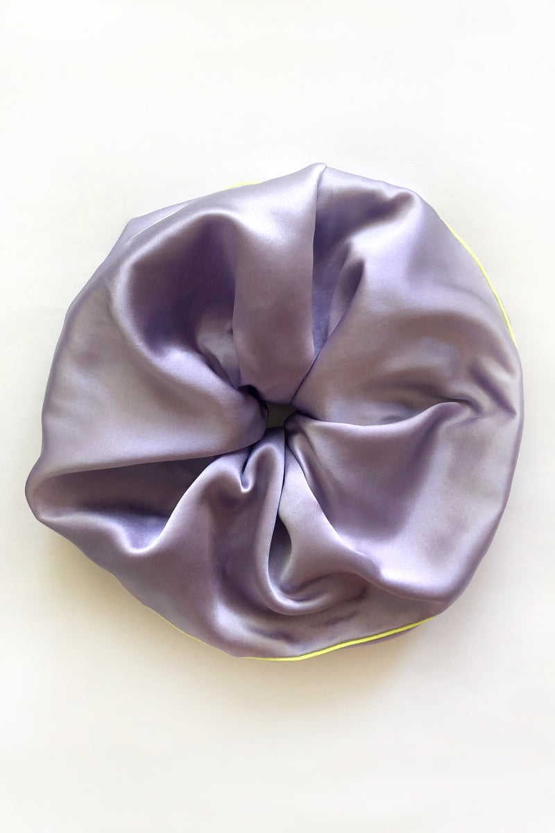Jumbo purple silk scrunchie hair accessory. Easy on all types of hair