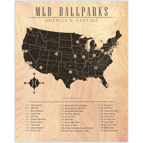 MLB Ballparks Map Checklist Wood Prints