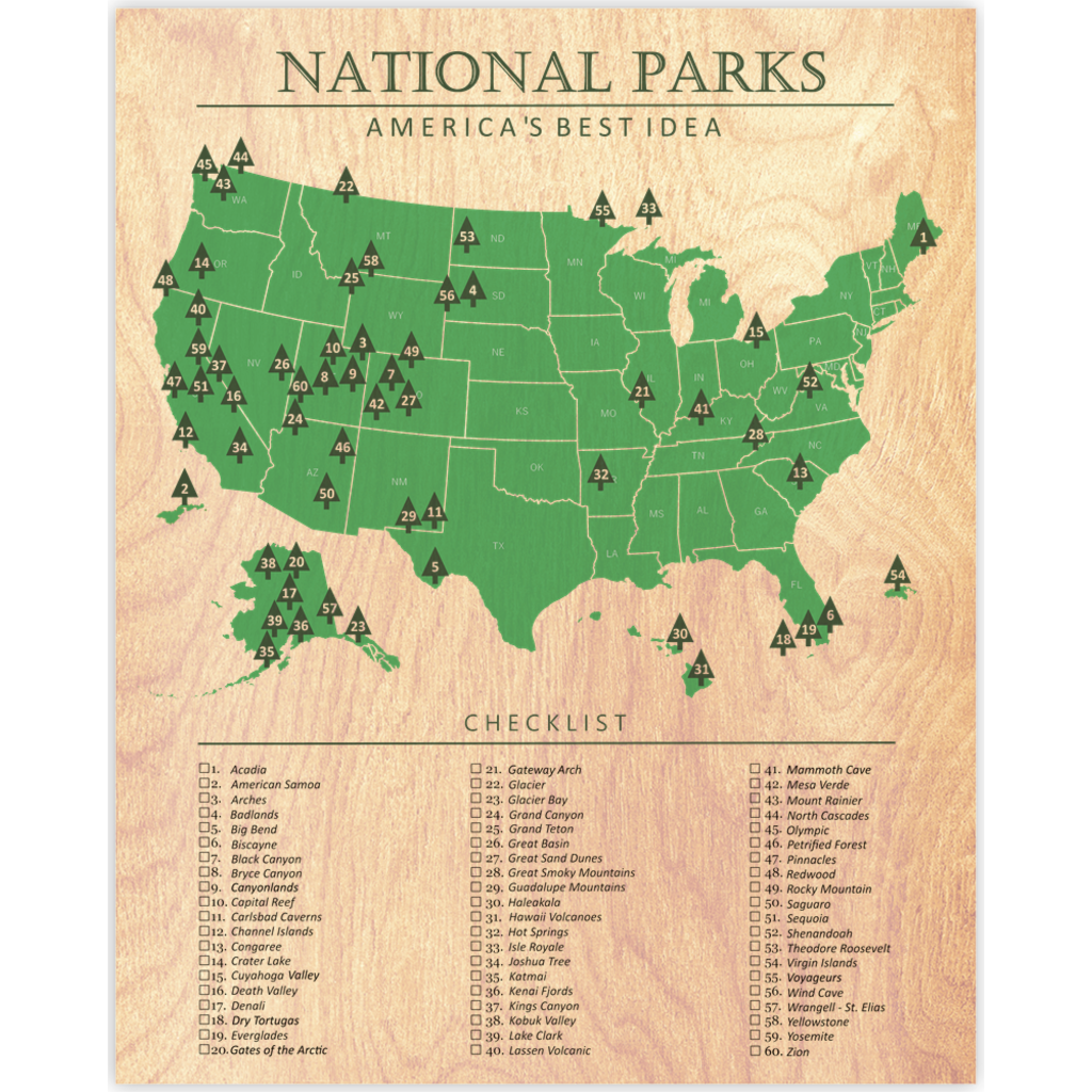 Map Of America National Parks.National Parks Map Checklist Wood Print