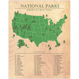National Parks Map Checklist Wood Print
