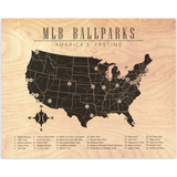MLB Ballparks Map List Horizontal Wood Print