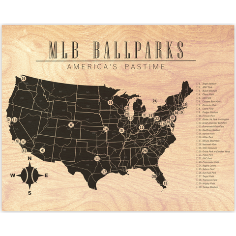 MLB Checklist Map Horizontal Wood Prints