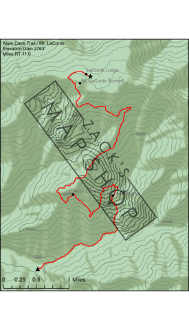 Mt. LeConte / Alum Cave Trail Map