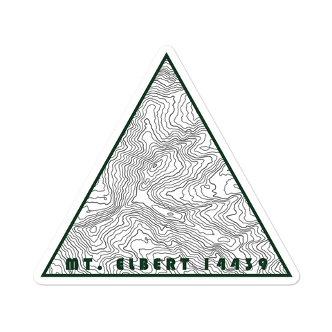 Mount Elbert Topographic Triangle Sticker