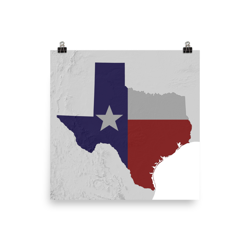 Physical Map Of Texas.Texas Physical Map With State Flag Overlay Poster Zack S Map Shop