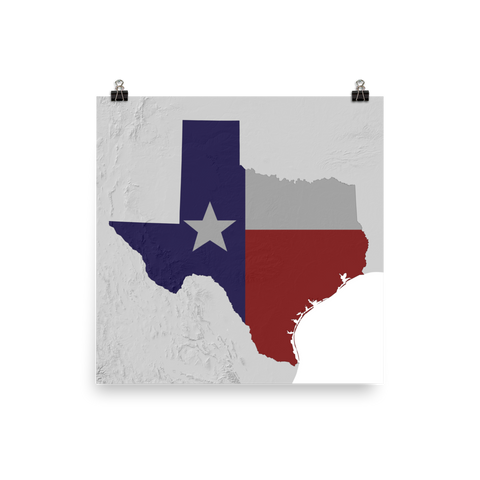 Texas Physical Map with State Flag Overlay Poster