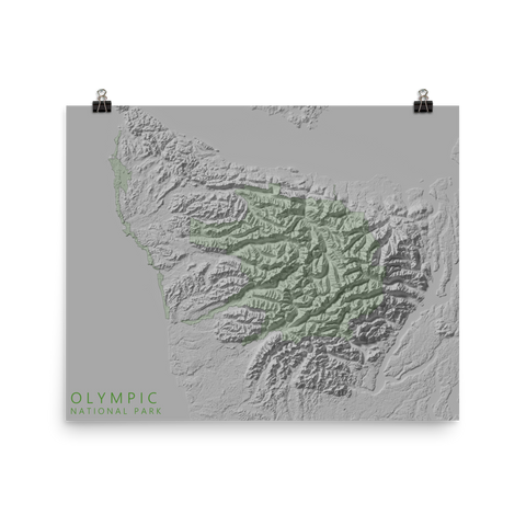 Olympic National Park Exaggerated Relief Map Poster