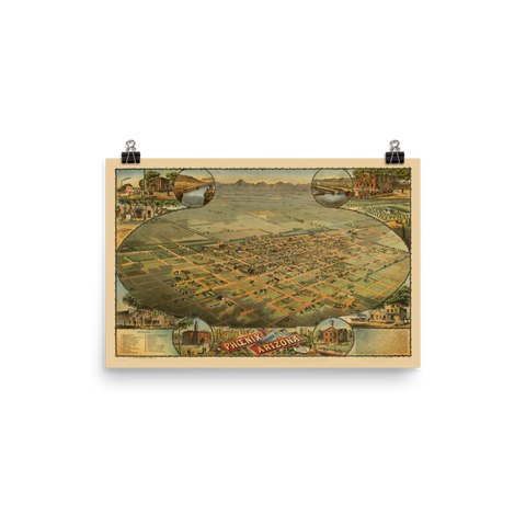 1885 Bird's Eye View Map of Phoenix, Arizona