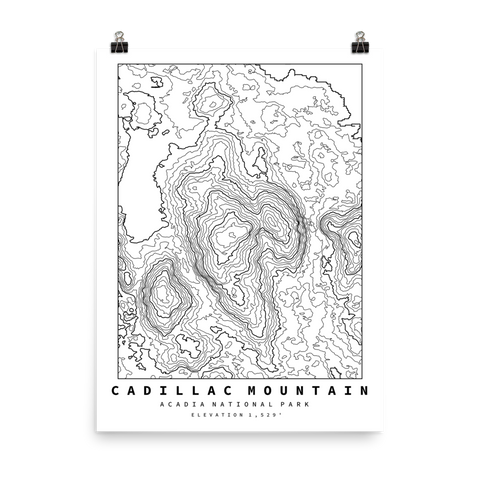 Cadillac Mountain Topographic Map Art