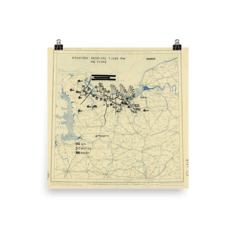 D-Day Plus 1 Situation Map Poster