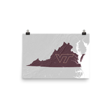 Virginia Relief Map with Virginia Tech Logo Poster