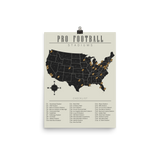 NFL Stadiums Checklist Map Poster
