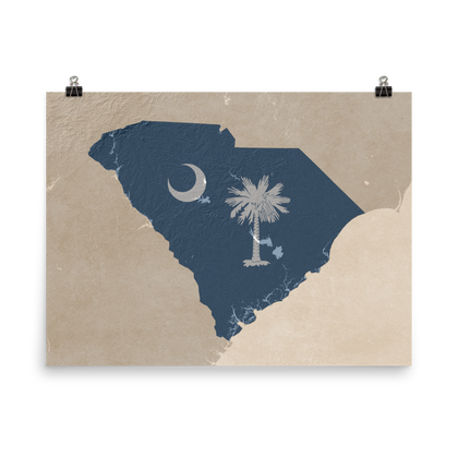 South Carolina Physical Map with State Flag Overlay - Vintage Style