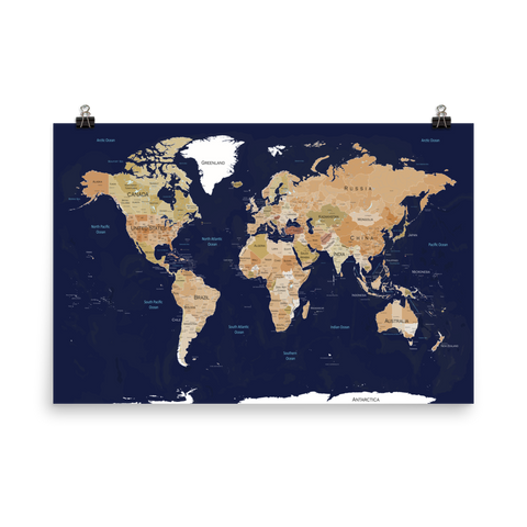 World Map Print Blue & Brown