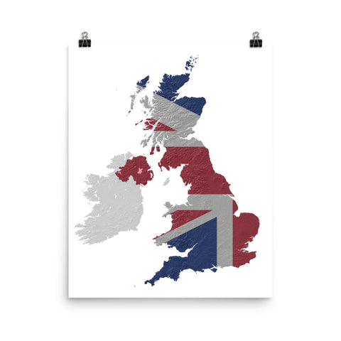United Kingdom Relief Map Flag Poster