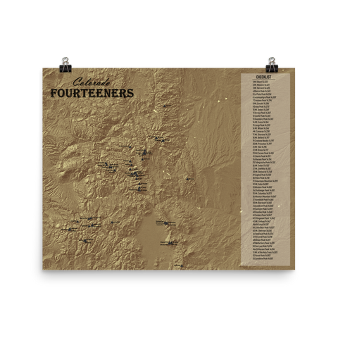Colorado 14ers Topographic Map | No Checkboxes |