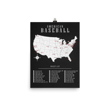 MLB Bucket List Map | 2019 Season Ballpark Names | Poster