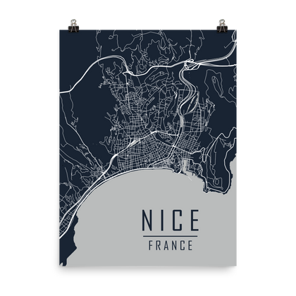 Nice, France Primary Roads Map Poster