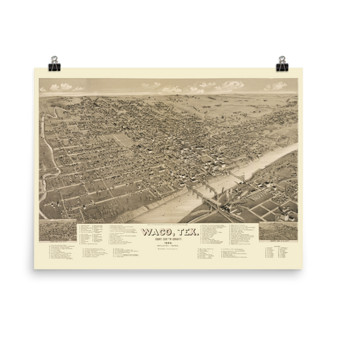 Waco, Texas 1887 Map Print