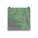 John Muir Trail Exaggerated Relief Map Poster