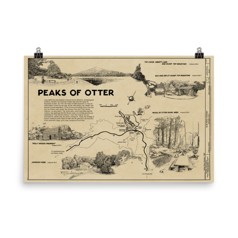 Peaks of Otter, Blue Ridge Parkway Map Poster