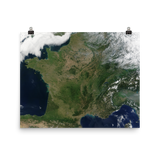 France Satellite Image Poster
