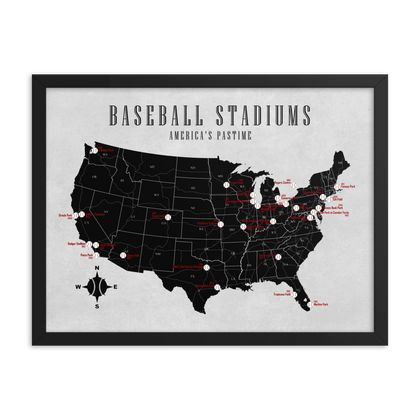 MLB Stadiums Map Poster | 2019 Update |
