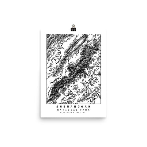 Shenandoah National Park Topographic Map Art Poster