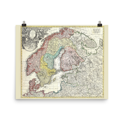 1730 Map of Scandinavia: Norway, Sweden, Denmark, Finland and the Baltics