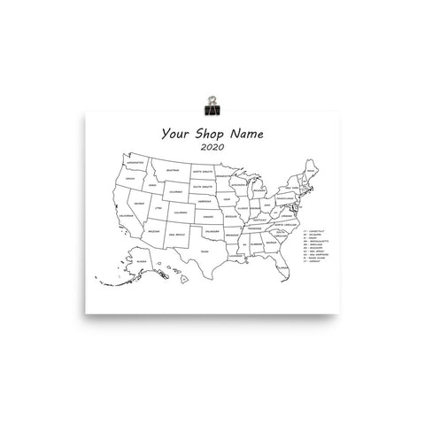 Shop Sales Map Poster - Personalized Your Shop Name