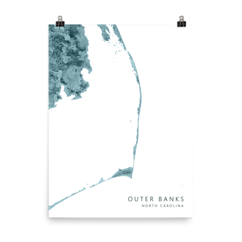 Outer Banks, North Carolina Elevation Map Poster