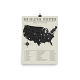 Personalized MLB Checklist Map Poster - Read Description