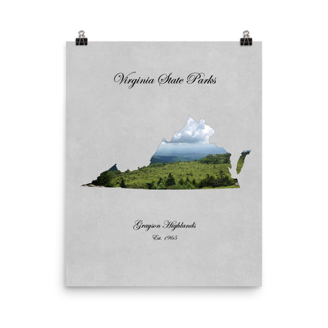 Grayson Higlands State Park Virginia Map Cut-out