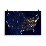 United States Lights Satellite Imagery Poster