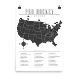 NHL Arenas Checklist Map Poster