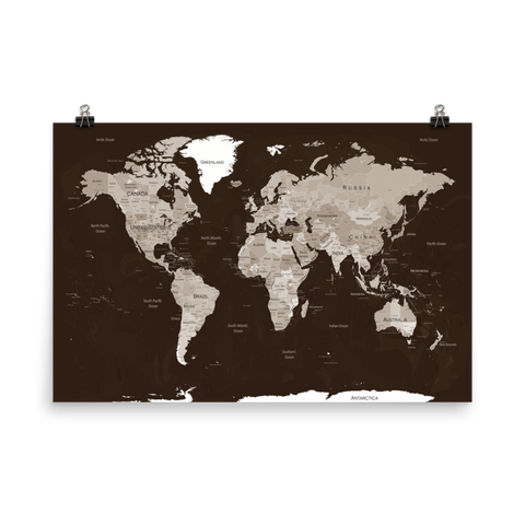 World Map Print Brown