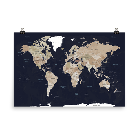 World Map Print Blue & Brown Faded