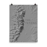 The Tetons Exagerated Relief Minimalist Poster